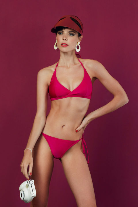 helix neck fuchsia glossy bikini - antmarkant