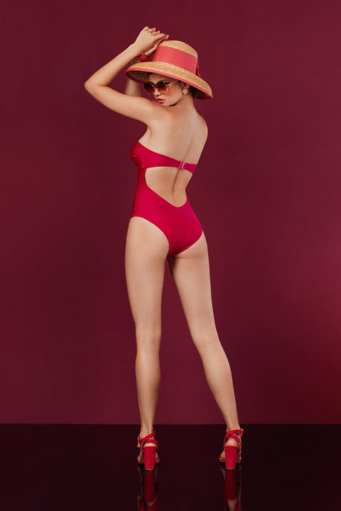 square fuchsia glossy swimsuit - antmarkant