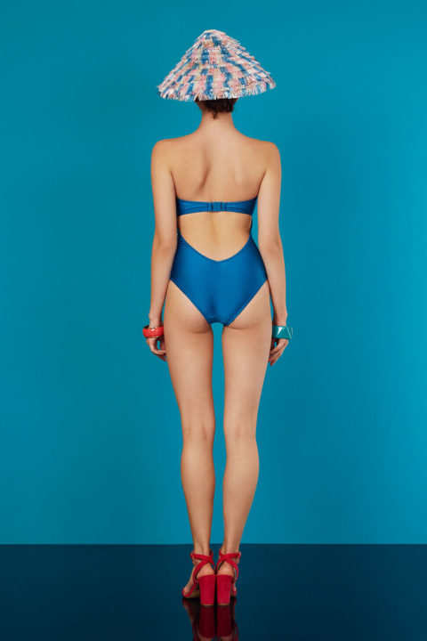 square turquoise glossy swimsuit - antmarkant