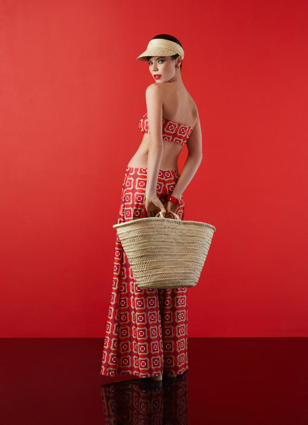 strapless top in red design - antmarkant