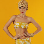 strapless top in yellow design - antmarkant